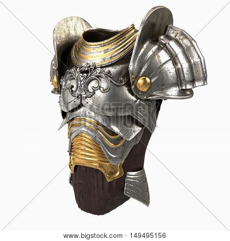 armor 3d illustration isolated on white background
