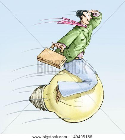 a man riding on a light bulb as munchausen rides the cannonball