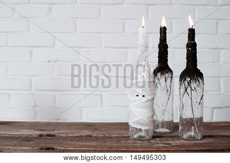The idea of candlesticks for Halloween. Handmade. Home decoration.