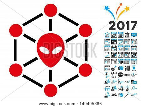 Alien Network icon with 2017 year bonus glyph design elements. Set style is flat symbols white background.