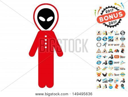 Alien Skafandr icon with 2017 year bonus glyph pictograms. Clipart style is flat symbols white background.