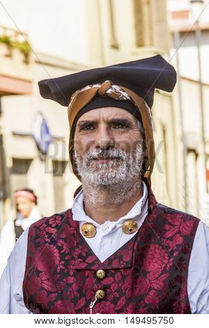 SELARGIUS, ITALY - September 14, 2014: Former marriage Selargino - Sardinia - portrait of a man in traditional Sardinian costume
