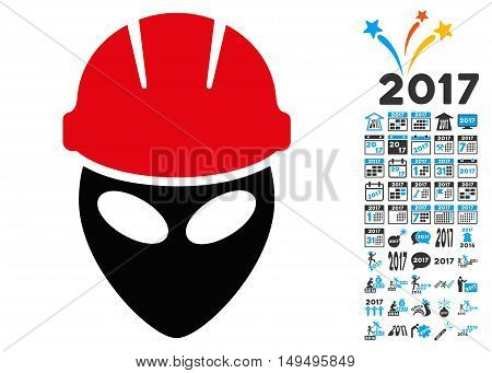 Alien Worker icon with 2017 year bonus glyph design elements. Set style is flat symbols, white background.