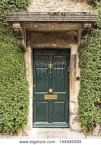 British door in an old village in south of England