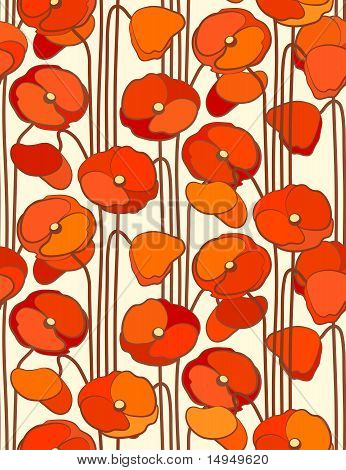 Poppies. Seamless Floral Background. Vector illustration.
