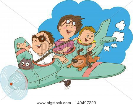 Cartoon family flying on an airplane. Everyone is happy and cheerful.