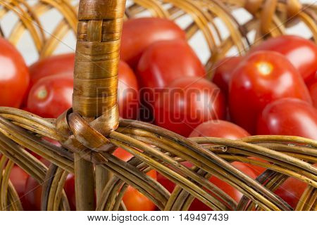 Basket With Ripe Fresh Tomatoes