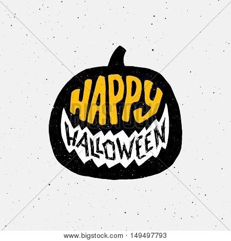 Happy Halloween greeting card with typography on pumpkin silhouette. Design element for 31 october party decoration.