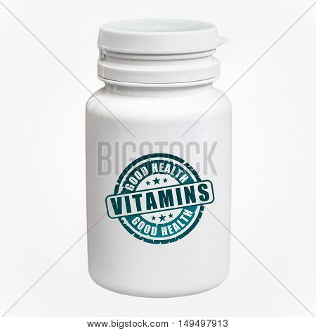 Bottle Of Pills With Vitamins