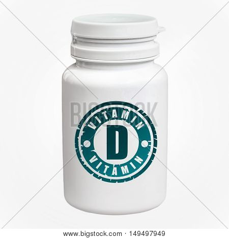 Bottle Of Pills With Vitamin D