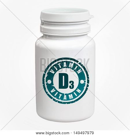 Bottle Of Pills With Vitamin D3