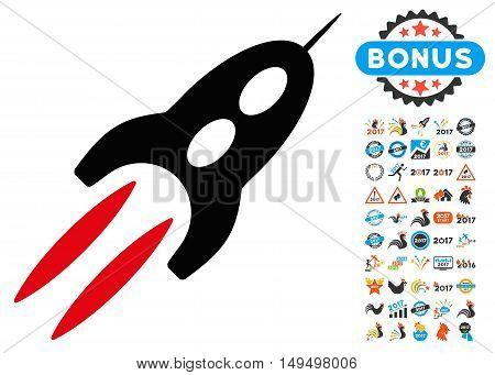 Starship icon with 2017 year bonus glyph pictographs. Design style is flat symbols, white background.