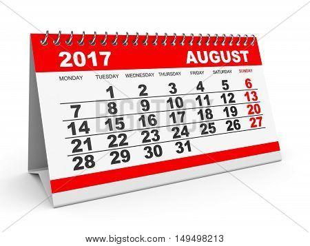 Calendar August 2017 On White Background.