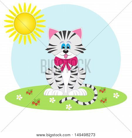 cute cartoon cat drawn for  print. Card for baby.