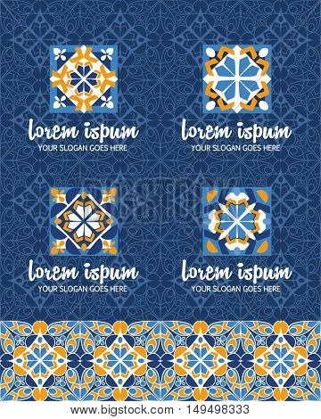 Vector Abstract Logo Design Elements Set. Company Emblem Icons With Ottoman Motifs. Simple Geometric