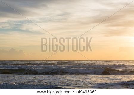 Beautiful Sea And Golden Clear Sky In Morning