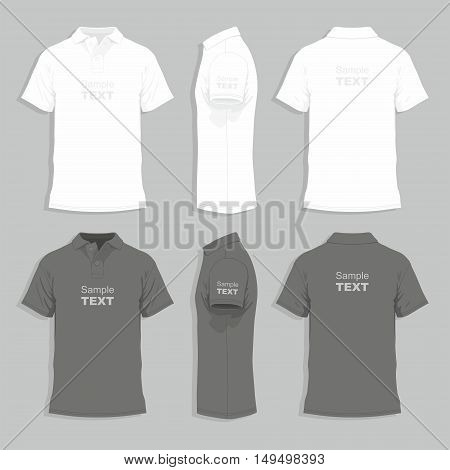 Vector. Men's t-shirt design template (front, back and side view)