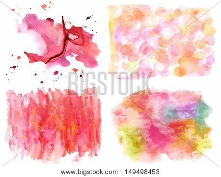 A vector set of abstract artistic background textures, made up by pink watercolor splashes and brush strokes on white background. Design elements with a place for text or logo