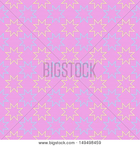 Seamless bright abstract pattern with stars on pink background