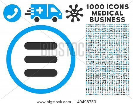 Stack icon with 1000 medical commerce gray and blue vector design elements. Design style is flat bicolor symbols white background.