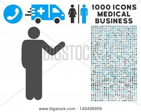 Talking Man icon with 1000 medical commercial gray and blue vector pictographs. Collection style is flat bicolor symbols white background.
