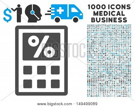 Tax Calculator icon with 1000 medical commerce gray and blue vector pictographs. Set style is flat bicolor symbols white background.