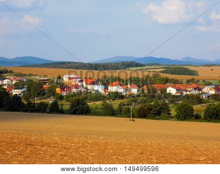 Field, deciduous forest and village during sunny day