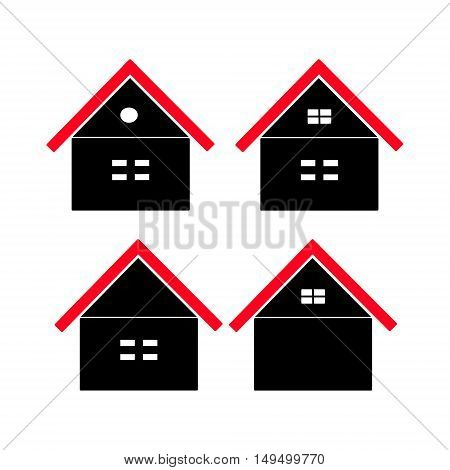 House with red roof icon set for website. Home silhouette on a white background. vector illustration