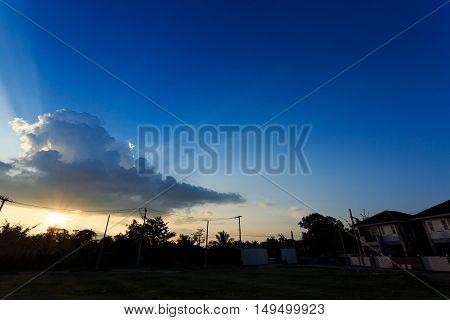 Beautiful Sunset Sky With Sunlight Through Cloudy