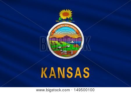 Flag of Kansas is a state in United States. 3D illustration