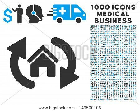 Update House icon with 1000 medical commerce gray and blue vector pictograms. Clipart style is flat bicolor symbols white background.