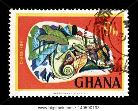 GHANA - CIRCA 1967 : Cancelled postage stamp printed by Ghana, that shows Chameleon.