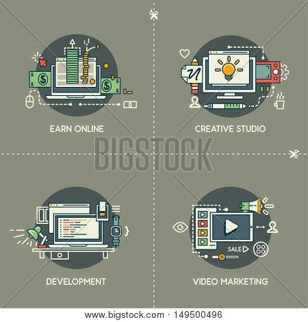 Earn online, creative studio, development, video marketing on gray background