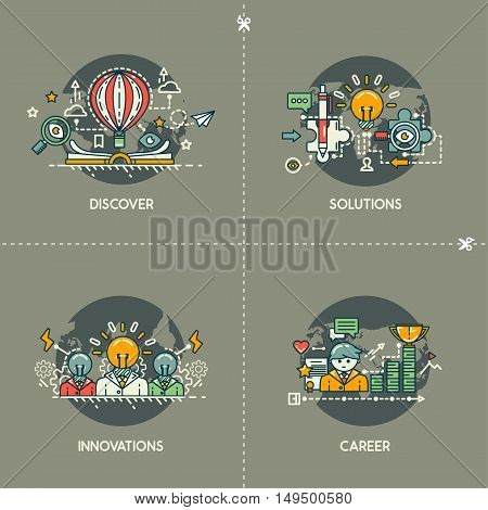 Discover, solutions, innovations, career on gray background