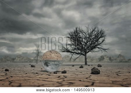 3d rendering of crystal ball at dry soil landscape with trees and clouds