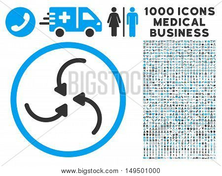Vortex Arrows icon with 1000 medical business gray and blue vector pictographs. Set style is flat bicolor symbols white background.