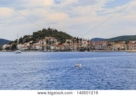 TRIBUNJ, CROATIA - SEPTEMBER 7, 2016: Tribunj is a small vintage 15th century a tourist town in Central Dalmatia.
