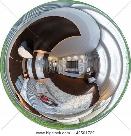 3d illustration spherical 360 degrees seamless panorama of bedroom interior design. The bedroom is made in grey and brown tones in a classic style
