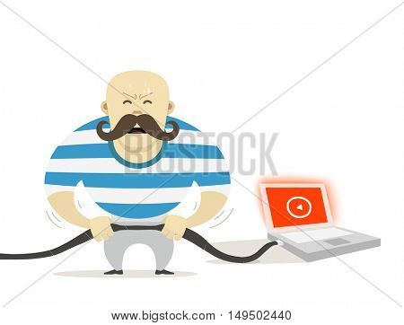 Strong man with modern laptop. Vector illustration