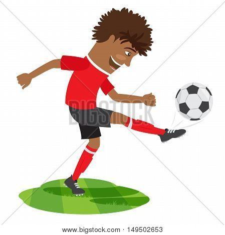 Funny African American Soccer Football Player Wearing Red T-shirt Running Kicking A Ball And Smiling