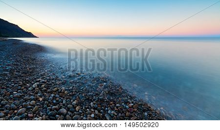 landscape  sea sunrise stone Crimea coast seascape