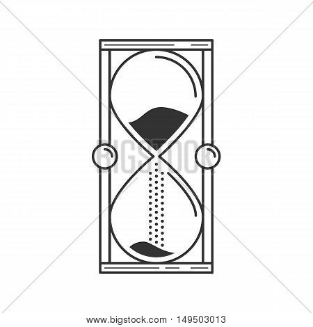 Hourglass or sand timer icon. Linear trendy hand drawn style, line, vector icon. Geometric isolated flat design.