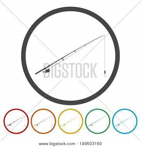 Fishing rod. Single flat icon on the circle. Vector illustration.