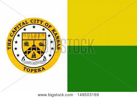 Flag of Topeka is the capital city of the State of Kansas United States