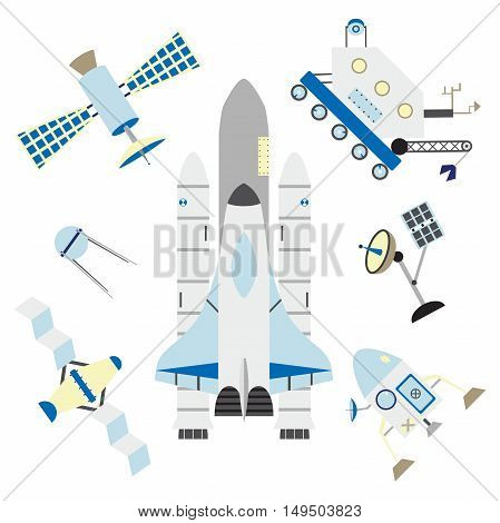 Isolated space elements. Shuttle, rocket, satellites, antenna and moonwalker. Made in flat style. Great for design about space, journals t-shirts, magazines.