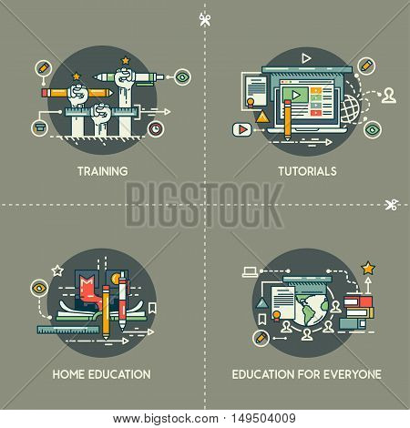 Training, tutorials, home education, education for everyone on gray background