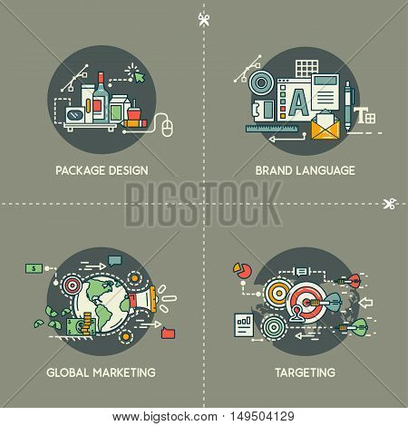 Package design, brand language, global marketing, targeting on gray background