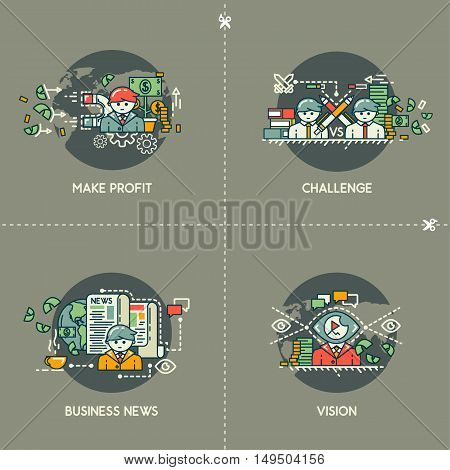 Make profit, challenge, business news, vision on gray background