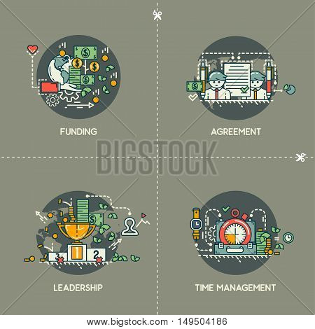 Funding, agreement, leadership, time management on gray background