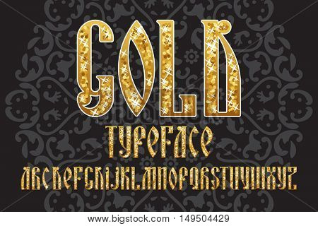 Gold typeface. Latin stylization of Old slavic font. Custom type vintage letters on a dark background. Stock vector typography for labels, headlines, posters etc.